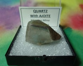 AJOITE In QUARTZ Terminated Phantom Crystal In Larger Size Mineral Specimen Display Box From S. Africa
