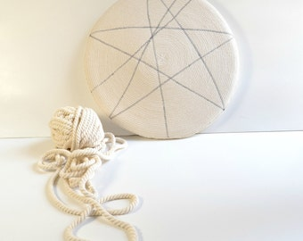 Natural white cotton, Rustic home decor, Floor pillow, Round pillow, Cotton pillow, Decorative pillow white and grey, Cotton cord rope, Rope