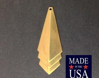 Raw Brass Layered Triangle Pendant Drop 45x17mm (4) mtl065H