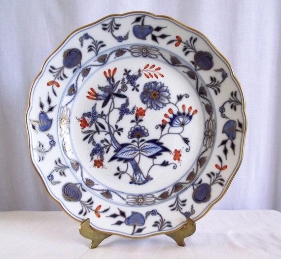 Antique Plate - Meissen Rich Blue Onion Crossed Swords - 9 7/8 Vintage Porcelain