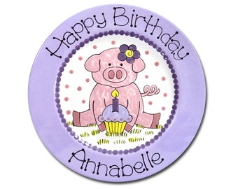 11 inch Personalized Birthday Plate - Birthday Piggy Design