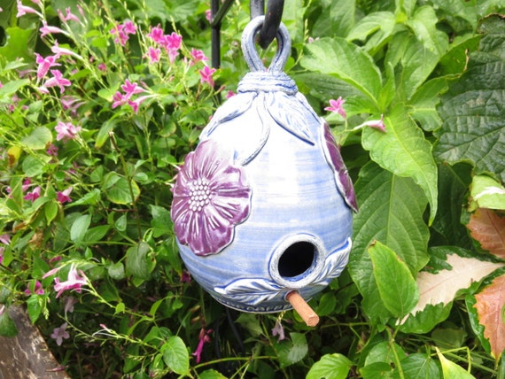Ceramic Birdhouse Hand Decorated with Flowers Garden Art Handcrafted Pottery Gift for Gardener Purple Blue Stoneware
