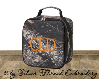 Personalized Lunch Bag Camo Mossy Oak  Monogrammed School Snack Box Camouflage