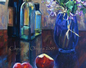 Original Still Life Painting, Flowers, Fruit, Bottle of Wine, Oil on Canvas, Traditional, Impressionistic... 16 x 20