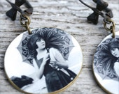 Silly Girl Umbrella Earrings - Vintage Photograph Earrings - Black and White Photo Jewelry - Burlesque Jewelry - Beach Girl Jewelry