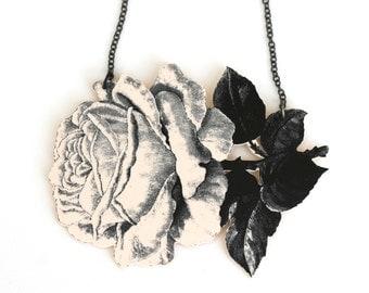 Rose Necklace - Rose Pendant - Flower Pendant - Rose Jewelry - Flower Jewelry - Shrink Plastic - Black and White Print - Garden - Flower