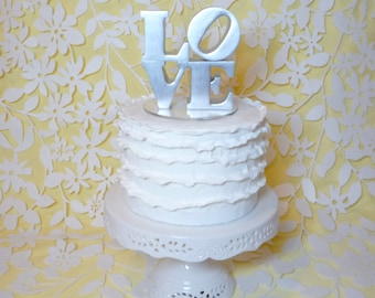 Philadelphia love cake topper in silver