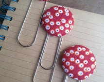 3 Red, Yellow, White and Orange Circled Fabric Covered Button Bookmarks with Large Paper Clip
