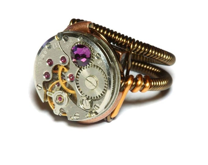 Steampunk ring, Steampunk Jewelry, Watch Movement Steampunk Ring with purple velvet crystal
