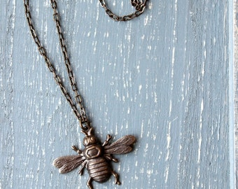 Bee Necklace, Honey Bee Brass Necklace Garden Sage Green Glass Flower Vintage Look Natural Brass Bumble Bee Kind