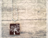 Scrabble Art Pendant Necklace-Chocolate Tree - Scrabble Game Tile Jewelry Charm - Customize