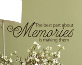 Memories Quote Vinyl lettering words Wall Decal, Family room Decor, Entryway decorations, Photo gallery wall display sayings