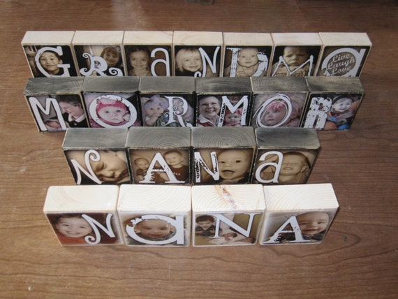 Photo Gift for Christmas- Personalized PHOTO LETTER BLOCKS- Special Flat Rate Box 2-  up to 36 blocks