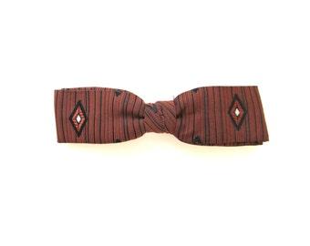 Vintage Bow Tie . Orange and Black Tie . Clip On Bowtie . Fashion Accessories .