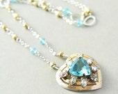 Heart Necklace, Valentine, Repurposed Necklace, Vintage Heart Necklace, OOAK