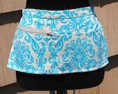 Vendor Apron Server Apron Cash Apron Travel Apron Turquoise Damask Cotton Twill Blue Beige
