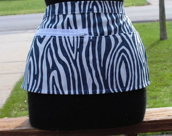 Vendor Apron Server Apron Travel Apron Navy Blue White Modern Stripe Cotton Twill Canvas