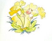 ida bohatta illustration print flower child vintage yellow primrose waldorf flower fairy children's book illustration rare antique small
