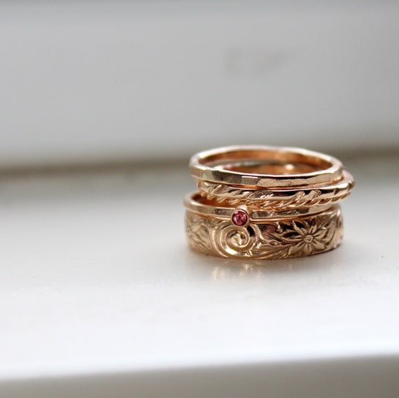 gold stacking rings birthstone stacking rings