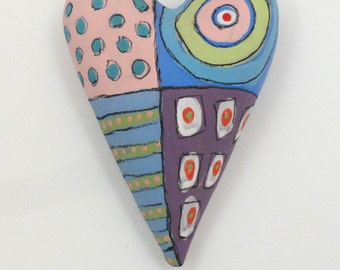 Graffiti Heart Ceramic Wall Sculpture Valentine Folk Art