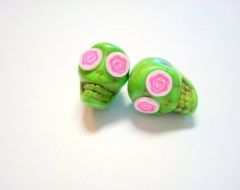 Green and Pink Rose Eyes in Day of The Dead Sugar Skull Beads-13mm