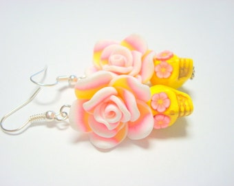 Yellow and Pink Day of the Dead Roses and Sugar Skull Earrings