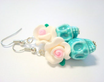 Turquoise, White, and Pink Day of the Dead Roses and Ceramic Sugar Skull Earrings