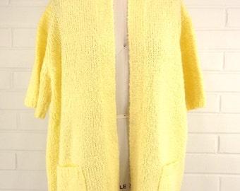 Vintage 70's Yellow Cardigan Sweater, Extra Large