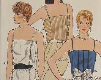 Vintage 80's Sewing Pattern, Misses Camisole Top, Size 8-10-12