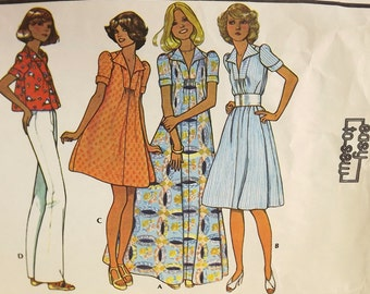 Vintage 70's Sewing Pattern, Misses Dress or Top, Size 10