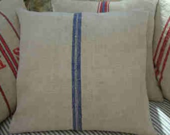 "ViNTaGE Grainsack Down Pillow/BluE StriPE/Decorative 18"" PiLLoW/ French CottaGe/SHaBBy CHiC/Throw Beach Pillow"