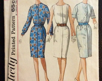 "1950's Vintage Sewing Pattern Ladies' Dress Simplicity 4985 34"" Bust Size 14- Free Pattern Grading E-book Included"