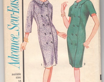 "1950's Vintage Sewing Pattern Ladies' Dress Advance 3384 32"" Bust Size 12- Free Pattern Grading E-book Included"