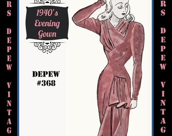 Vintage Sewing Pattern 1940's Asymmetric Evening or Wedding Gown in Any Size Depew 368 - PLUS Size Included -INSTANT DOWNLOAD-