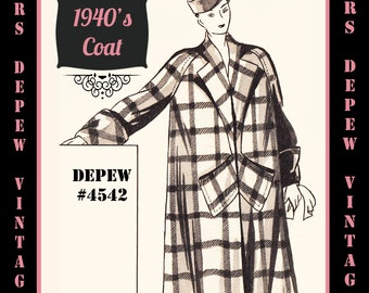 Vintage Sewing Pattern 1940's Long Coat in Any Size # 4542 Draft at Home Pattern - PLUS Size Included -INSTANT DOWNLOAD-