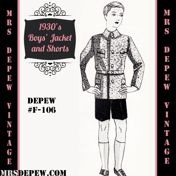 1930s Childrens Fashion: Girls, Boys, Toddler, Baby Costumes 1930s Boys Jacket and Trousers/ Shorts in Any Size Depew F-106 - Plus Size Included -INSTANT DOWNLOAD-  AT vintagedancer.com