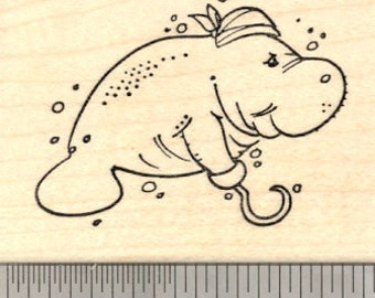 Manatee Pirate with Hook and Bandana Rubber Stamp H20817 Wood Mounted