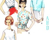 1960s Blouse Pattern Simplicity 4935 Sleeveless or Short Sleeve Back Button Blouse Monogram Transfer Vintage Sewing Pattern Bust 36