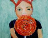 Digital Print - Little Girl Portrait Painting - All Day Sucker - Pigtails - Orange Lollipop - Girl's Room Wall Decor