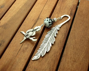 "Beaded metal bookmark, lampwork bookmark, feather bookmark, parrot charm, white, stocking stuffer  - 5.5"" long"
