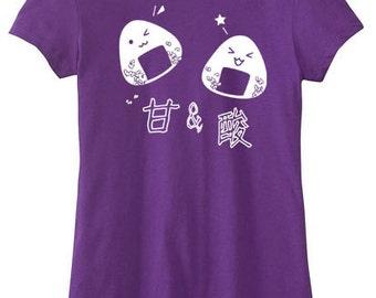 Onigiri T-shirt Cute Japanese food shirt Kawaii clothing Rice balls shirt Japanese kanji Teen clothing