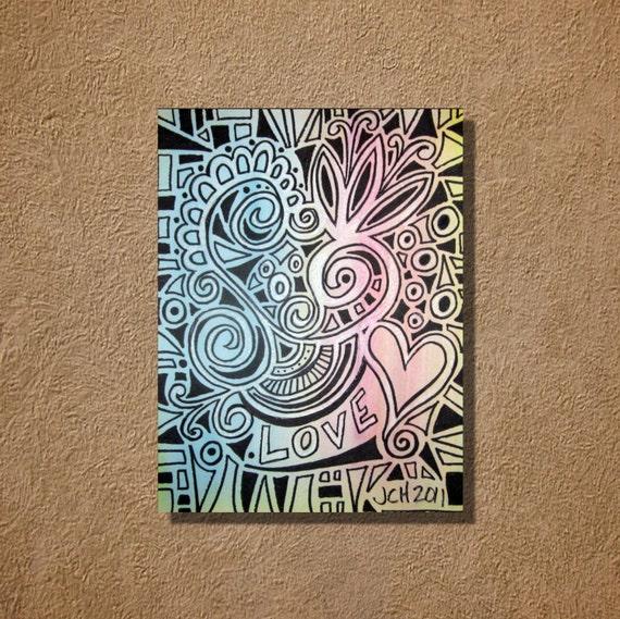 Mosaic Love in Pastels Original Watercolor Drawing 9x12