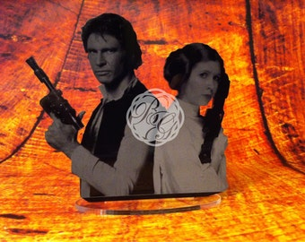 Han Solo Princess Leia Keepsake Cake Topper, Display Art, Star Wars Inspired