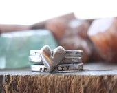 All you need.... fine silver personalized stacking rings with heart