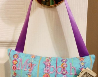 Blue and Purple Stars and Hearts Tooth Fairy Hanging Pocket Pillow Circles Bed Decoration Boy Girl