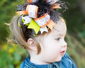 Autumn Owl Over the Top Hair Bow, 6 inch Fall Owl Over the Top Headband-FREE HEADBAND INCLUDED