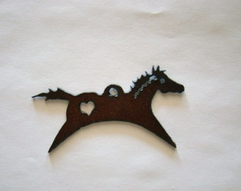 Spirit Horse with Heart Rustic Recycled Metal Pendant Cutout