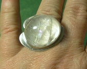 PENETRATOR CRYSTAL RING Rainbow Phantom Quartz, Sterling Silver, sz 7.75, very Dramatic, Handmade