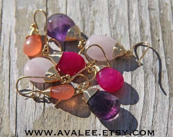 Wire Wrapped Gem Stones, 14K Gold Wires, Amethyst or Quartz