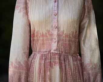 1970's Floral Sheer Lamé Metallic Peasant Sheer Dress Small/ Medium